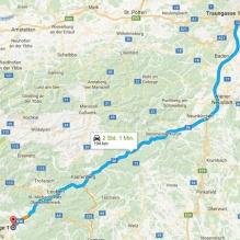 Gesamte Strecke etwa 190km